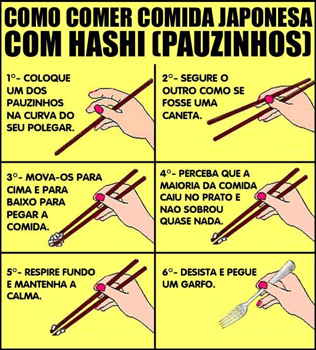 Como comer com hashi