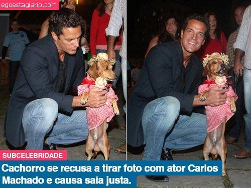 Cachorro se recusa a tirar foto com ator Carlos Machado e causa saia justa