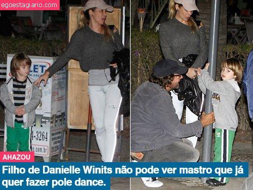 Filho de Daniele Winits não pode ver mastro que já quer fazer pole dance