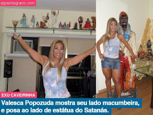 Valesca Popozuda mostra seu lado muambeira, e posa ao lado de estatua de satanas