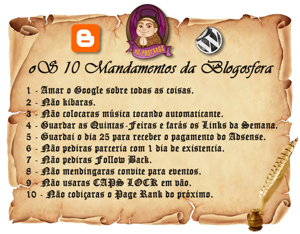 oS 10 mandamentos da Blogosfera