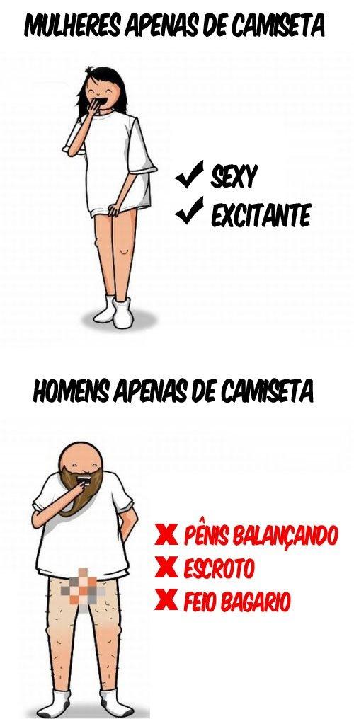 Diferença entre homens e mulheres usando apenas camiseta