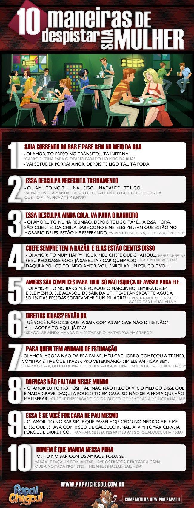 10 maneiras de despistar sua mulher