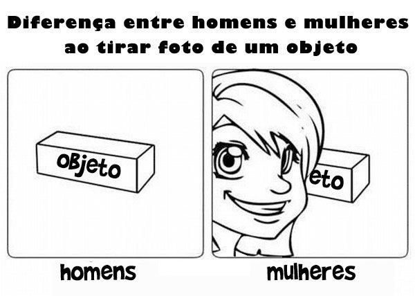 Diferença entre homens e mulheres ao tirar foto de um objeto