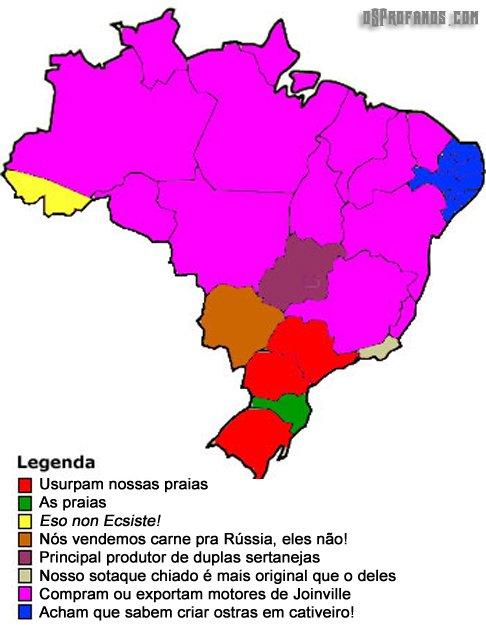 Mapa segundo os catarinense