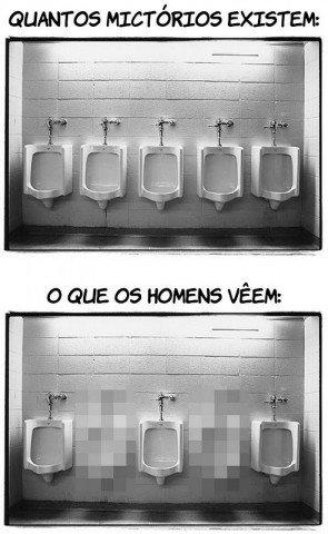 O que os homens vêem quando vão no banheiro usar o mictório