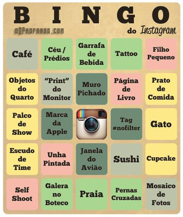 bingo do instagram