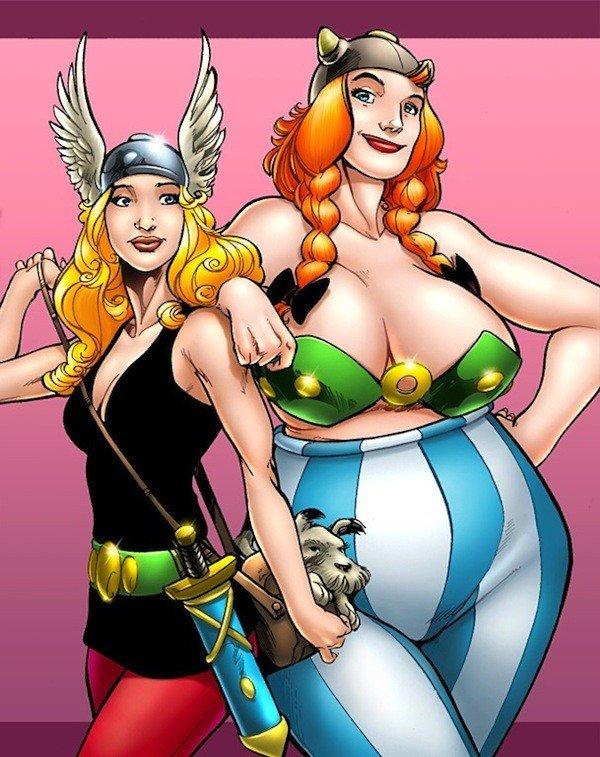 Versão feminina de personagens  - female asterix e obelix