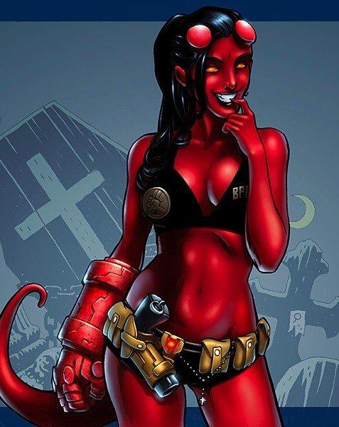 Versão feminina de personagens - female hell boy