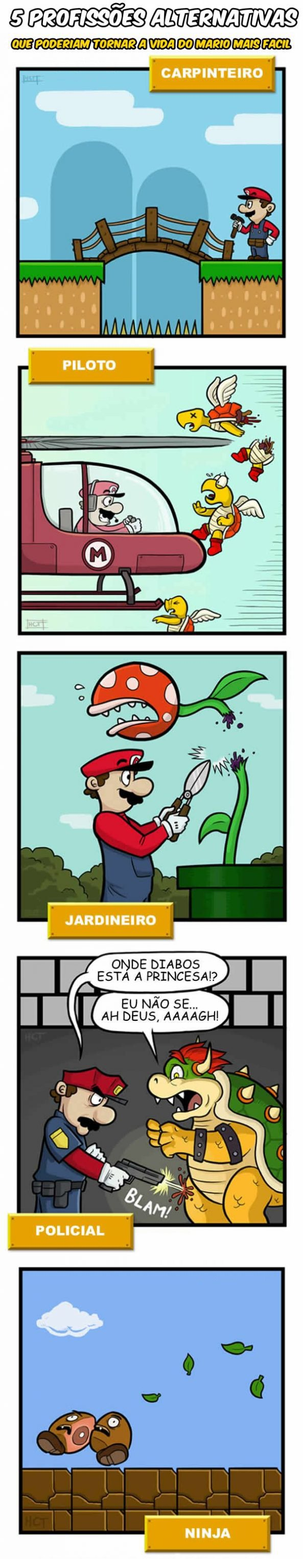 5 profissoes alternativas que poderiam tonar a vida do Mario mais facil
