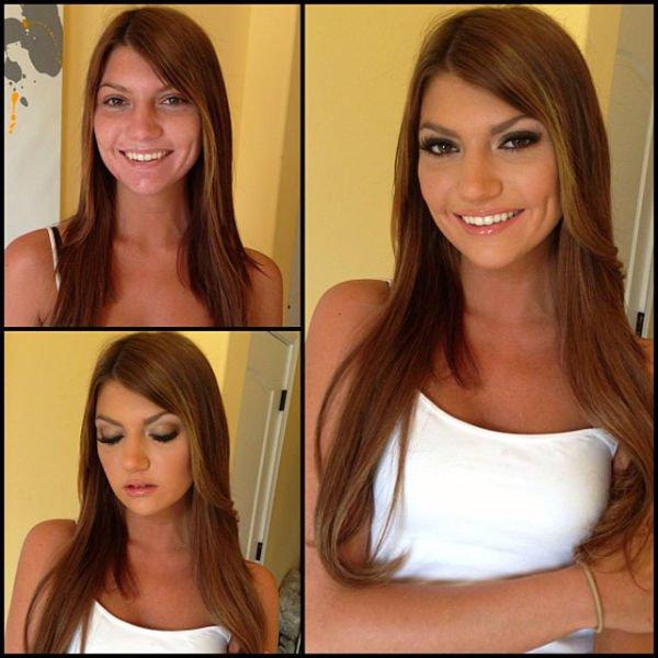 Atrizes porno antes e depois da maquiagem (1)