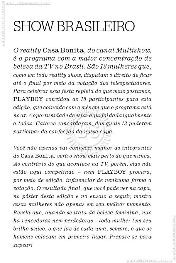 Playboy As gatas do reality show casa bonita