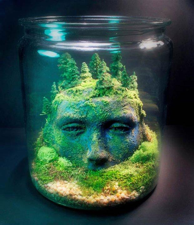 Esculturas dentro de um aquário (4)