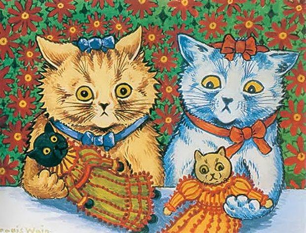Gatos desenhados por um esquizofrênico Lous Wain (10)