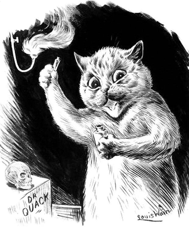 Gatos desenhados por um esquizofrênico Lous Wain (7)