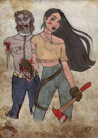 Disney characters as zombie hunters 1