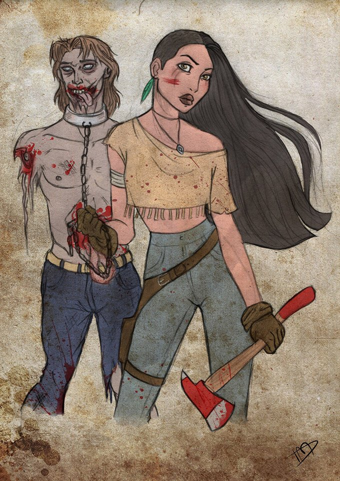 Disney-characters-as-zombie-hunters-1