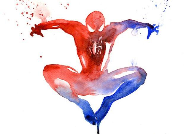 Super-Heróis em aquarelas