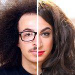 Usando maquiagem para transformar homens em mulheres