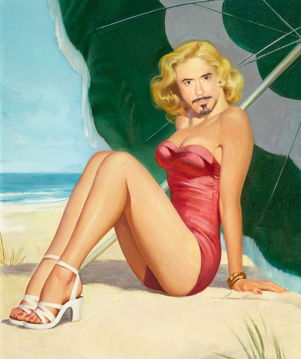 Robert Downey Jr. como uma Pin-up