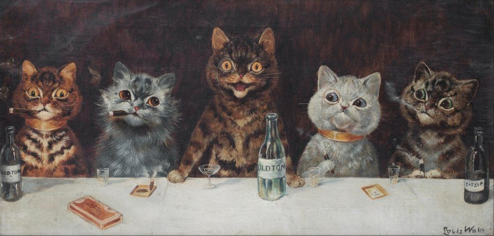 Gatos desenhados por um esquizofrenico