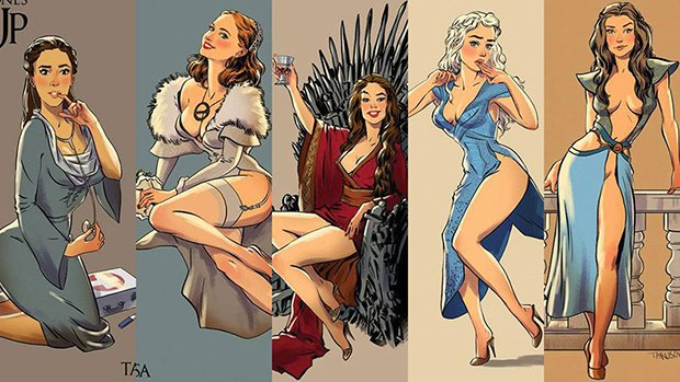 Personagens de Game of Thrones como modelos Pin-Ups