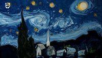 Pintando um quadro de Van Gogh na água