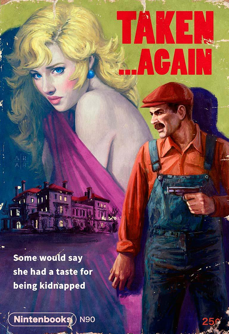 Artista transforma jogos da Nintendo em capas de revista Pulp Fiction