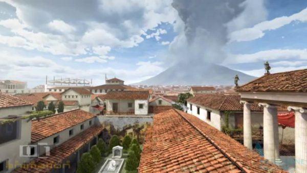 o dia da erupcao do vulcao Vesuvio em Pompeia