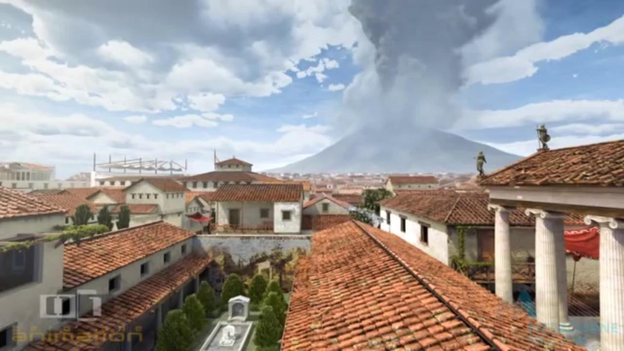 Simulando o que aconteceu no dia da erupção do vulcão Vesúvio em Pompeia