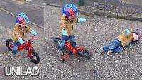 Camêra flagra garotinho sofrendo um terrível acidente de bicicleta