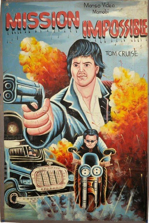 Cartazes de filmes dos anos 80 desenhados a mão para exibição em cinemas africanos