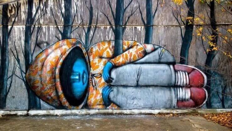 Pinturas de rua que interagem com o ambiente