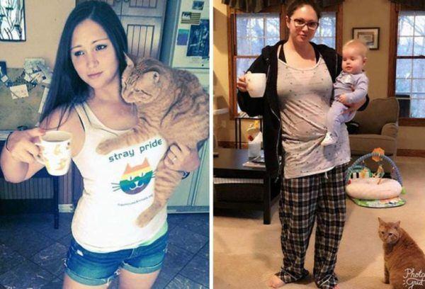 Pais mostram fotos de antes e depois de terem filhos 14