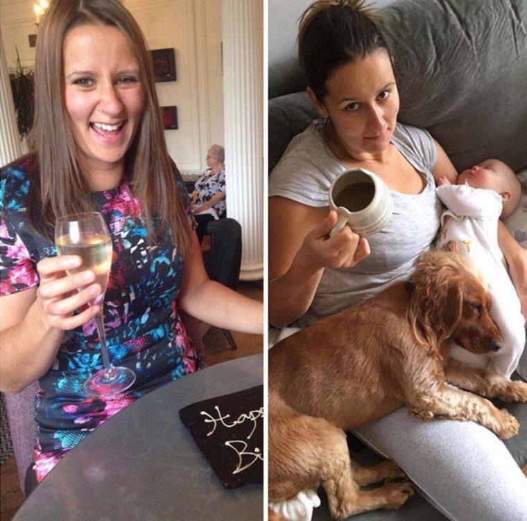Pais mostram fotos de antes e depois de terem filhos 18