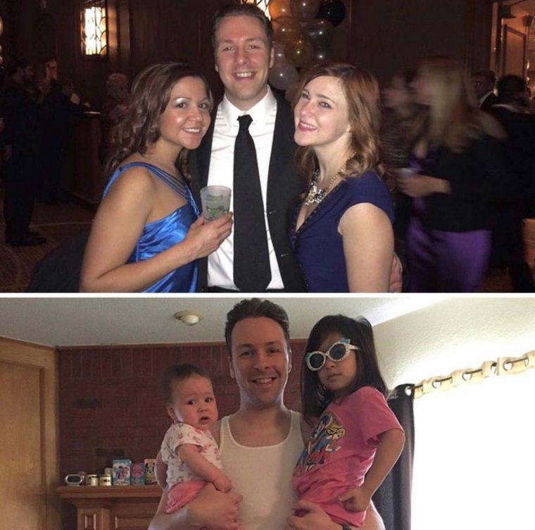 Pais mostram fotos de antes e depois de terem filhos 19