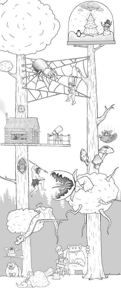 Artista passa um mes acrescentando um personagem por dia em seu desenho 17