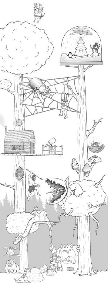 Artista passa um mes acrescentando um personagem por dia em seu desenho 19