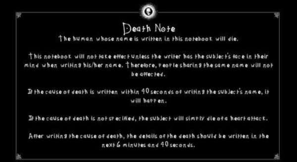 Death note Instruções