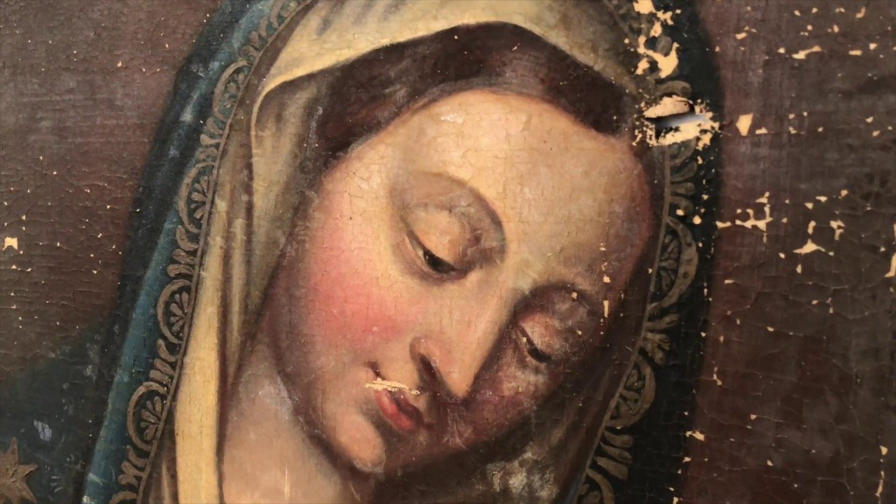 Aprenda como se faz a restauração de um quadro - Maria, Mãe de Jesus