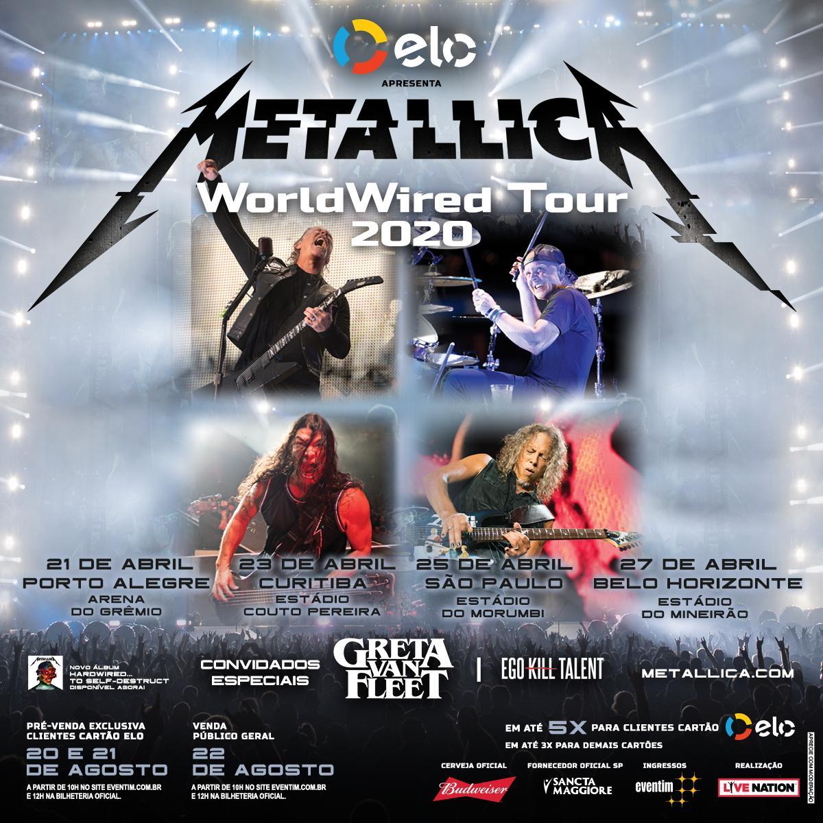 Shows de Metallica no Brasil banda volta ao país em 2020