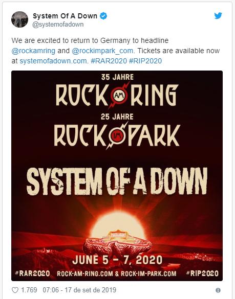 System of a Down anuncia volta aos palcos em 2020