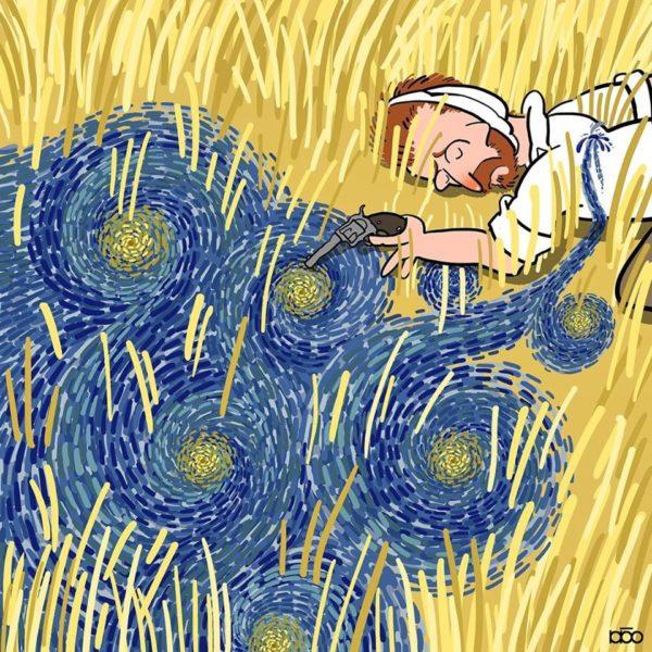 Cartunista ilustra a vida de Vincent van Gogh em imagens coloridas
