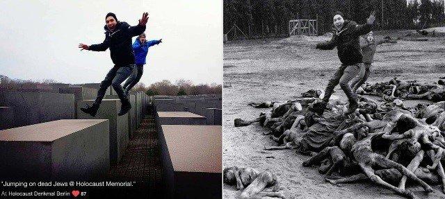 Judeu cria fotos do holocausto com imagens de turistas que nao respeitaram a historia 2