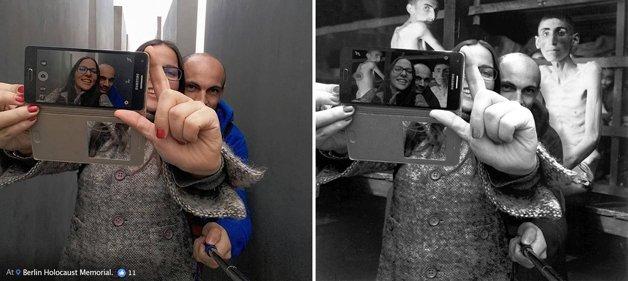 Judeu cria fotos do holocausto com imagens de turistas que nao respeitaram a historia 3