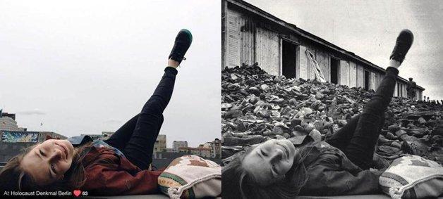 Judeu cria fotos do holocausto com imagens de turistas que nao respeitaram a historia 7