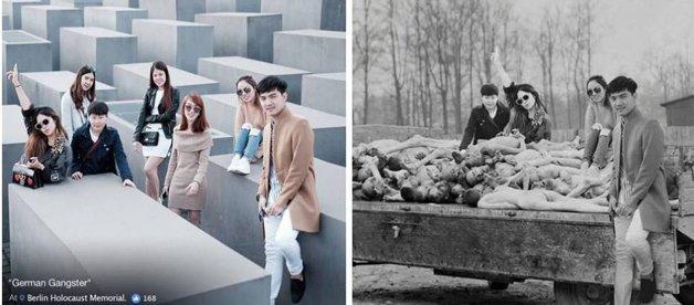 Judeu cria fotos do holocausto com imagens de turistas que nao respeitaram a historia 9