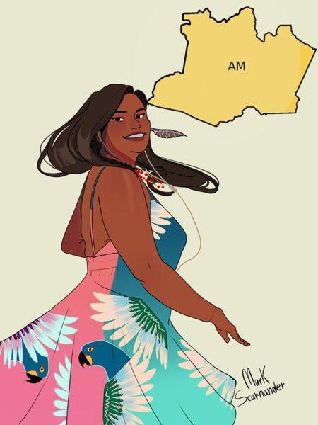 Mark Scarnander artista gráfico brasileiro cria artes onde Estados são representados por pessoas 7