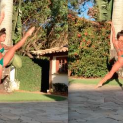 Aline Riscado dançando de biquíni tem público de 143 lives do Felipe Dylon