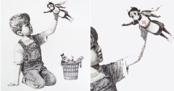 Banksy artista de rua propõe através de ilustração uma nova super heroína para as crianças